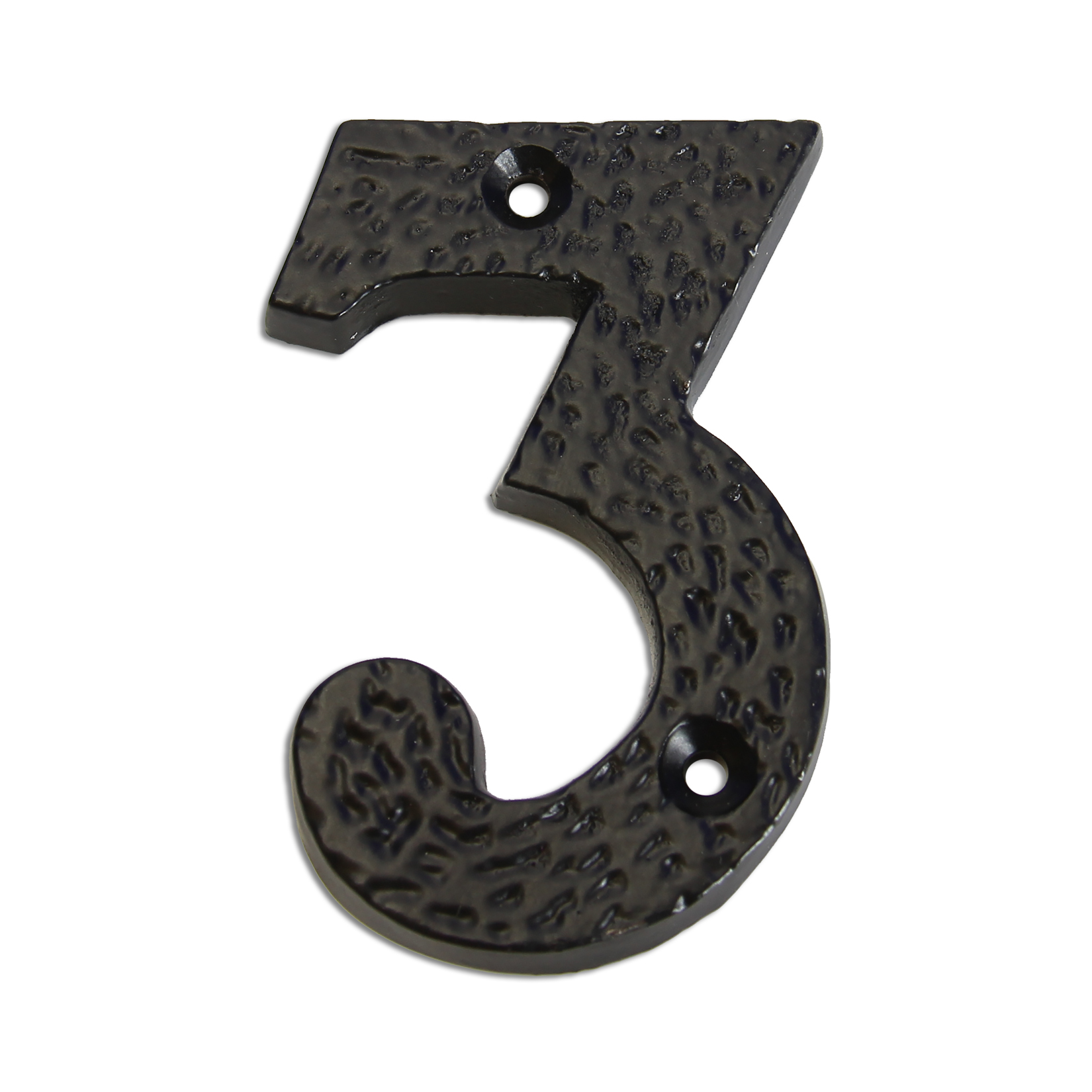 3-inch iron metal house number in iron black finish - metal number 3