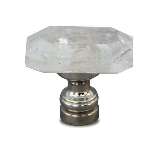 Jewel rock crystal cabinet knob in polished nickel finish