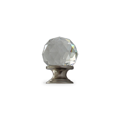 Chateau crystal cabinet knob in brushed nickel finish