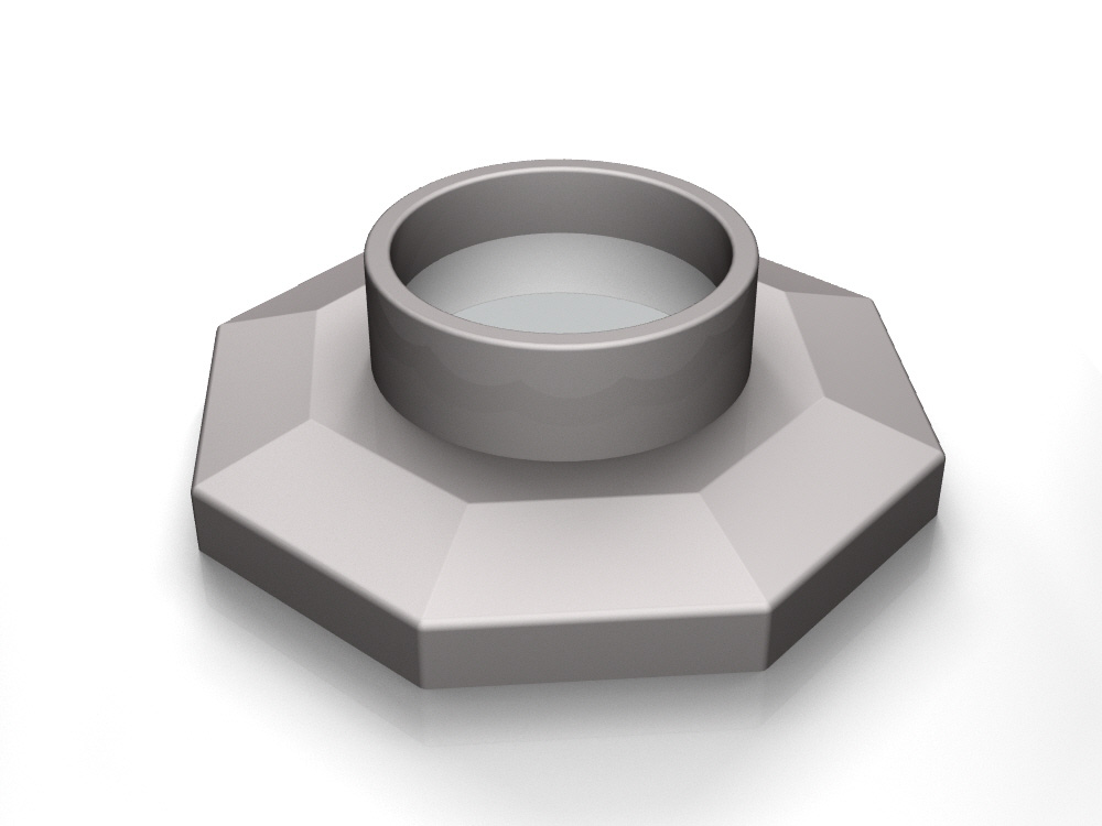 3D rendering of Elegance's Octagonal door knob base design