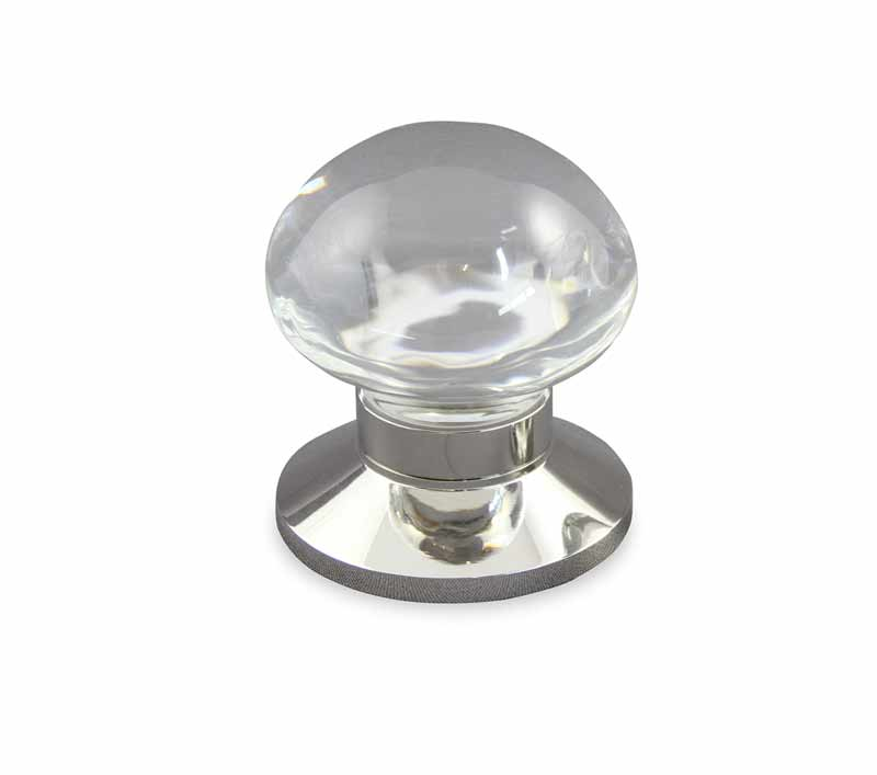 Mushroom Clear Crystal Door Knob design in polished nickel plain door knob base