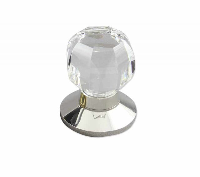 Octagonal Clear Crystal Door Knob design in polished nickel plain door knob base