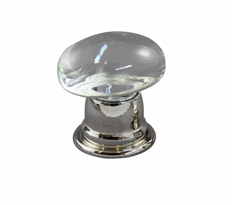 Oval Clear Crystal Door Knob design in polished nickel bell door knob base