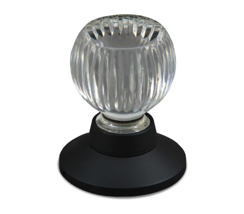 Tulip Spear Cut Clear Crystal Door Knob design in oil bronzed black plain door knob base