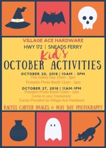 Village Ace Hardware Sneads Ferry Kid's October 2018 activities rci plus topsail pumpkin photo booth rachel carter images may day photography