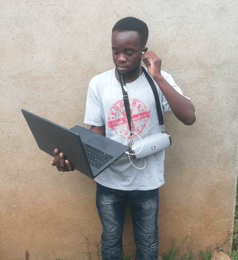 Young boy addicted with digital technology