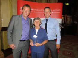 (L-R) Matt Le Tissier, Ellie Coulter (winner of John Blowers award), Paul Haymes Sussex Asphalte