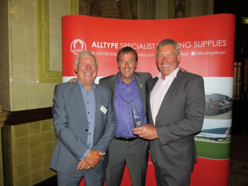 (L-R) Ken Knight, Matt Le Tissier and David Knight, Knight Asphalte (challenge trophy)