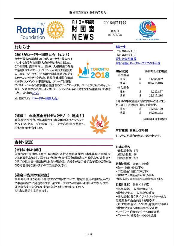 財団室NEWS 2018年 7月号