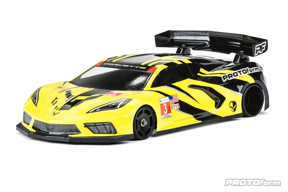 PROTOform Chevrolet Corvette C8 Body for 1/12-scale Pan Cars
