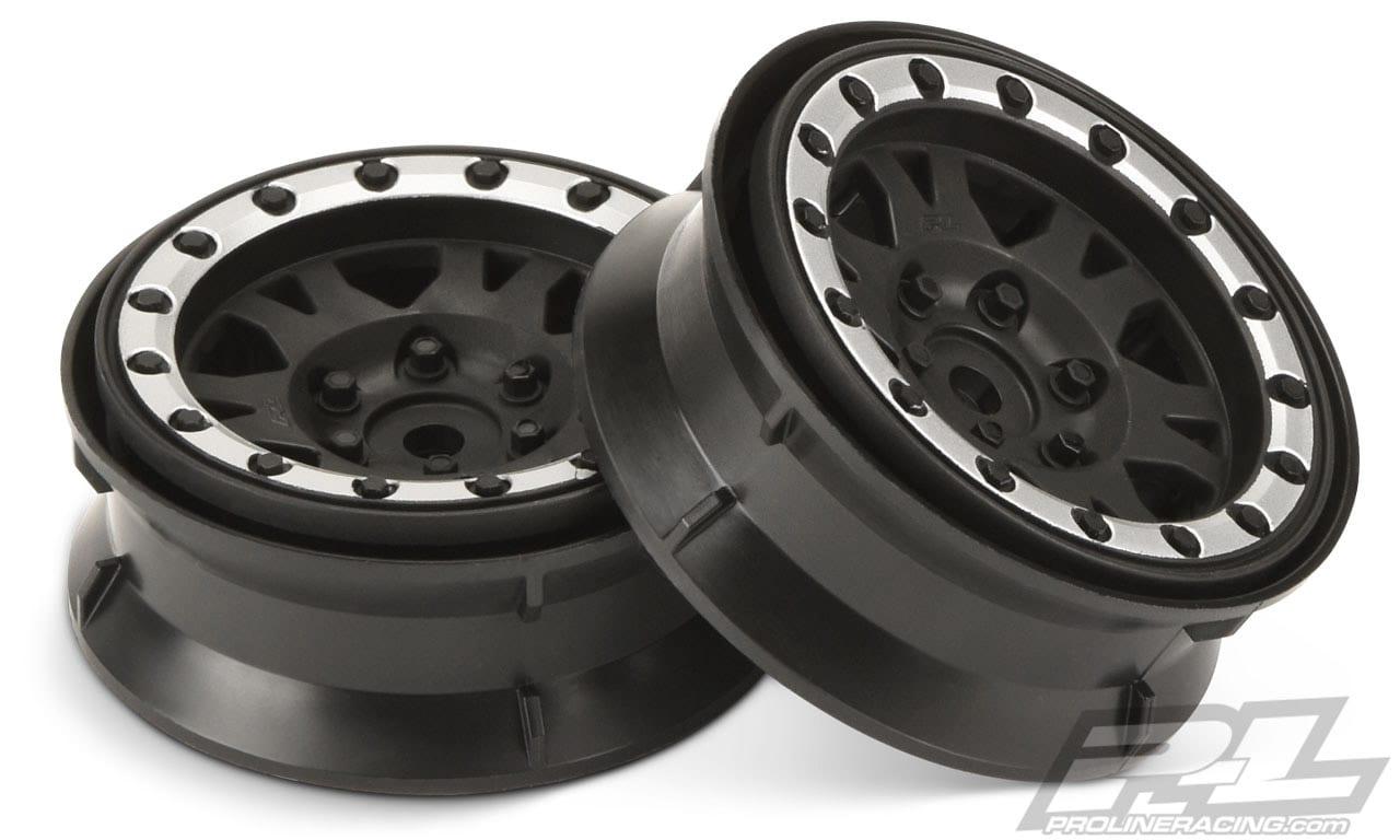 Pro-Line Impulse 1.9″ Black & Silver Internal Bead-Loc Wheels
