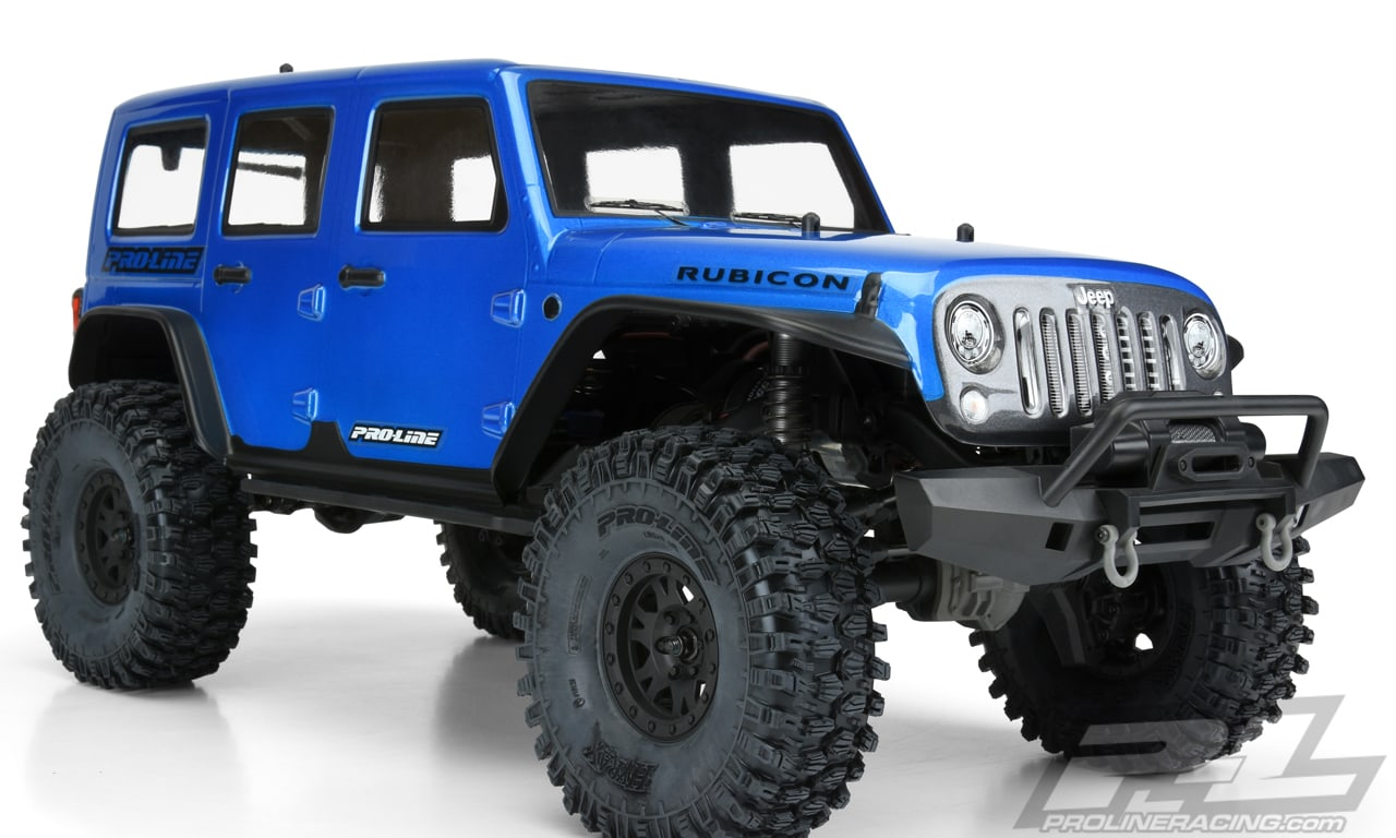 Pro-Line Pre-cut Pre-painted Jeep Wrangler Unlimited Rubicon Body for the Traxxas TRX-4 - Angled Close