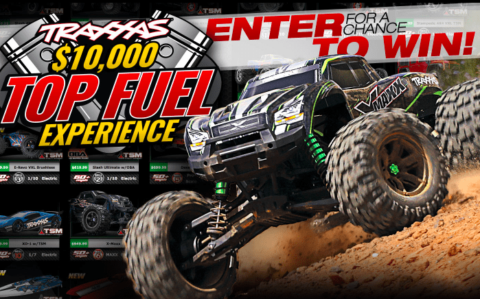Enter to win a $10,000 Traxxas Shopping Spree or a Top Fuel Dragster Ride-along!