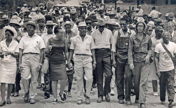 Meredith March Against Fear enters Jackson, MS. From left to right, Juanita Abernathy, Rev. Ralph Abernathy, Coretta Scott King, Martin Luther King Jr., Floyd McKissick, Stokely Carmichael. Photo by Bob Fitch from the Stanford archive.