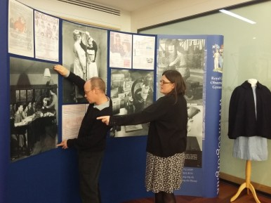 RCOG Library and heritage staff, Peter and Elaine, preparing our exhibit for the event.