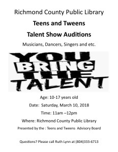 Teen/Tween Talent Show auditions @ Richmond County Public Library | Warsaw | Virginia | United States