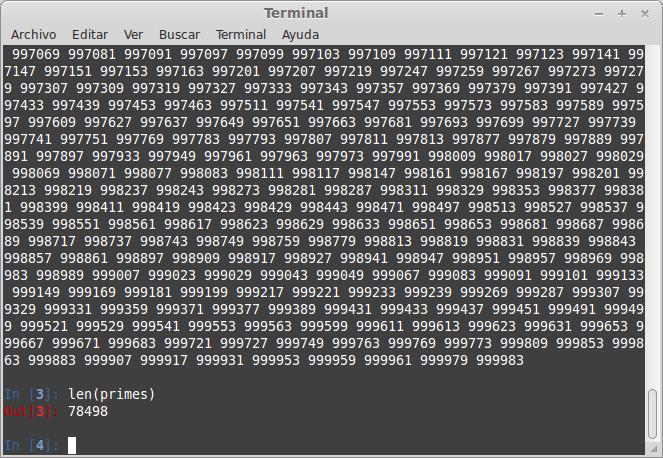 Encontrando mi primer millón de números primos (python)