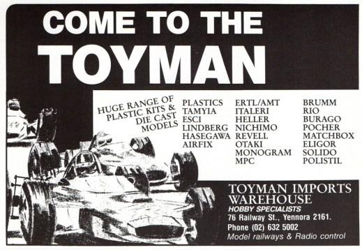 Yennora Hobbies ad in Australian Car Modeller, No.2 1986