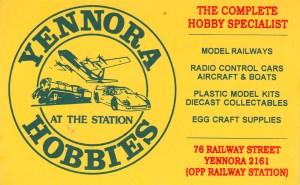 Yennora Hobbies business card
