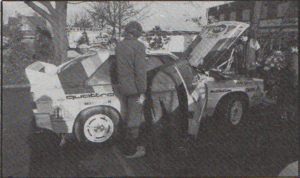 Michele Mouton being fit into the Audio, RAC Rally 1984