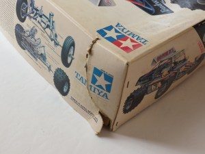 Above: A classic Tamiya Super Champ R/C kit with a damaged box. This box was found in a second hand store under a pile of other toys.