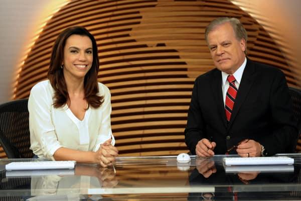"""Ana Paula Araújo e Chico Pinheiro, âncoras do """"Bom Dia Brasil""""; telejornal chegou a 19,5 pontos."""