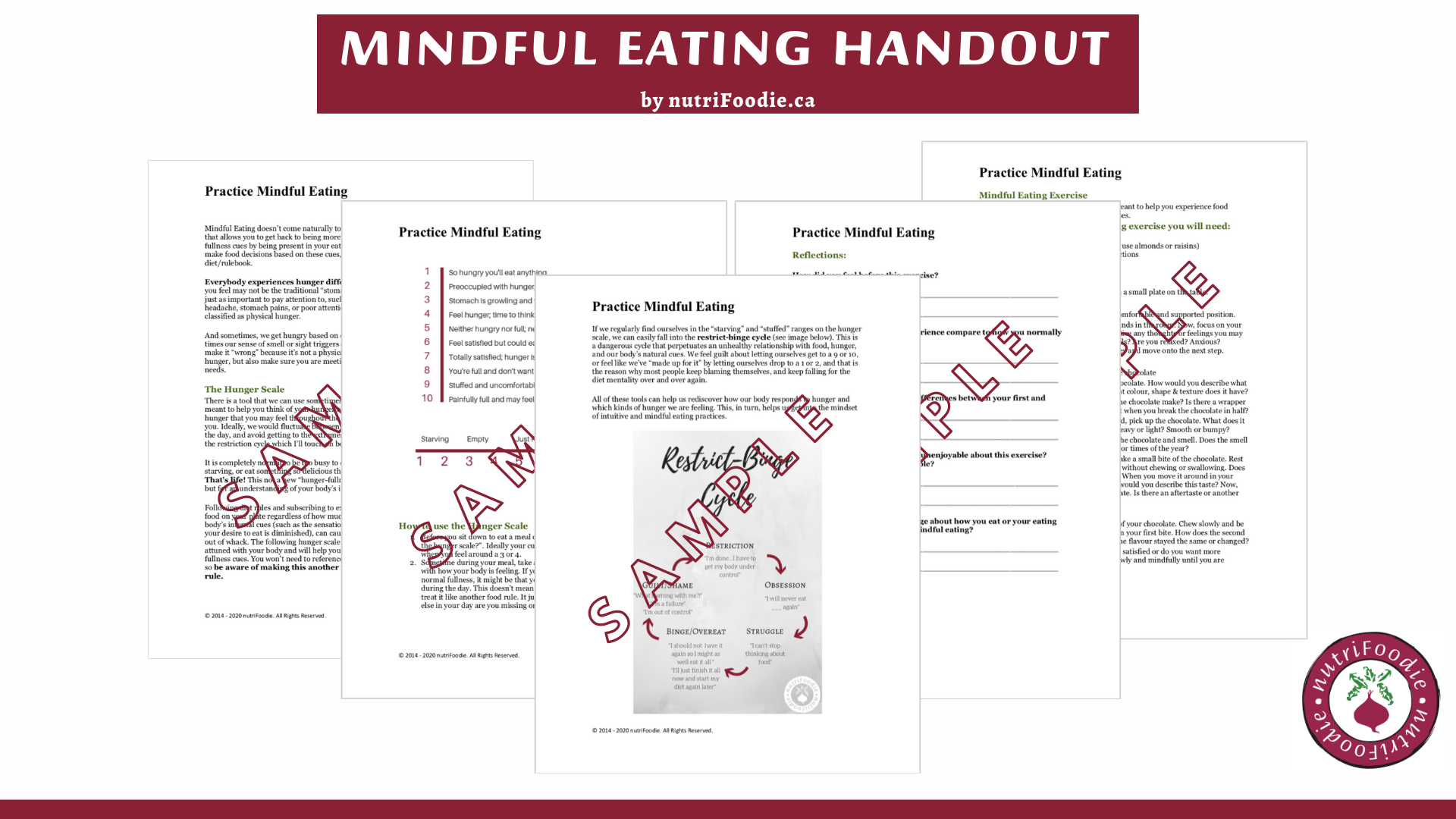 Mindful Eating Handout And Activity Worksheet