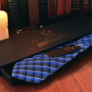 Blue plaid necktie handmade silk