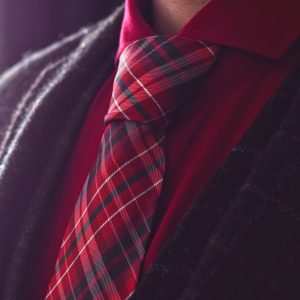 Black and red checked plaid necktie