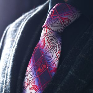 Blue and red checkered paisley tie