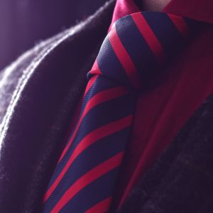 Silk handmade red and blue striped tie