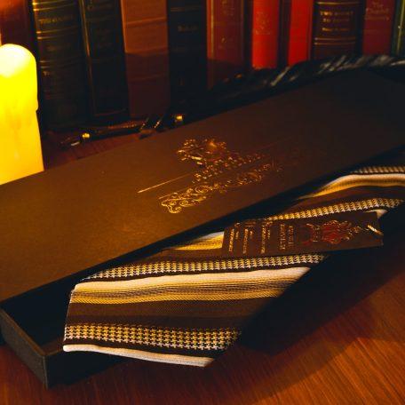 Hnedá béžová krémová hodvábna pásikavá kravata