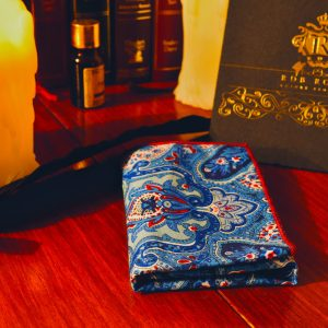 Blue cotton pocket square handkerchief