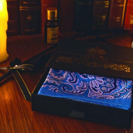 Blue paisley silk digitally printed handkerchief pocket square