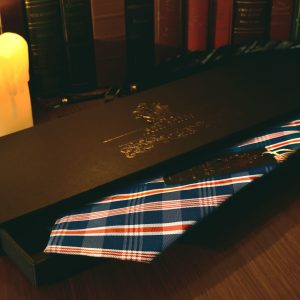 Striped blue and red necktie