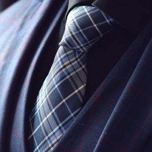 Navy Blue plaid checked necktie