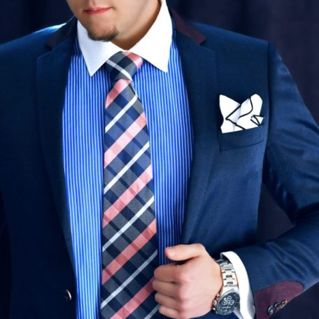 Luxury handmade silk tie in plaid pink and blue pattern