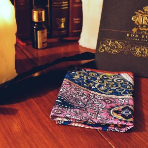 Pink and blue colorful pocket square handkerchief