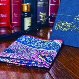 Blue and pink paisley pocket square handkerchief