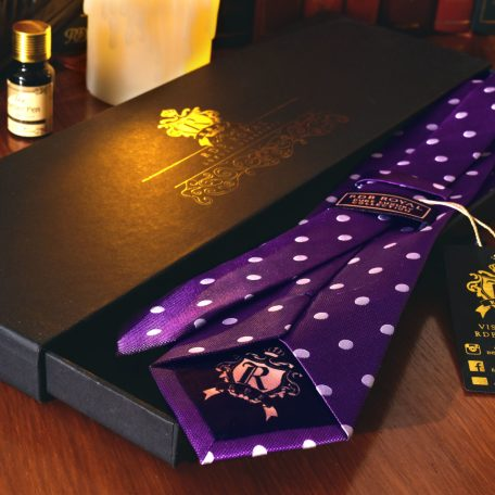 Silk purple polka dot tie pure luxury collection by RDB Royal