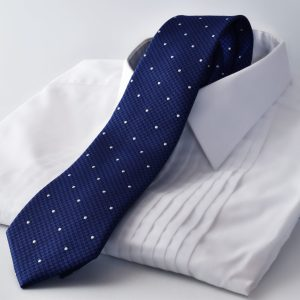 silk navy blue polka dot necktie pure luxury collection by RDB Royal