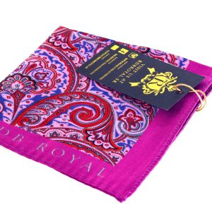 Pink paisley pocket square handkerchief by RDB Royal PURE LUXURY COLLECTION