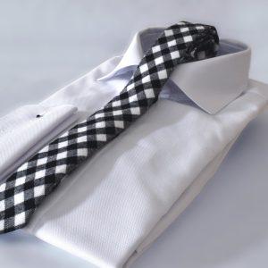 Kockovaná bieločierna bavlnená kravata v extra jemnej košeli RDB Royal