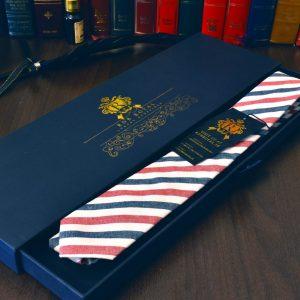Luxusná bavlnená kravata červeno modrej farby, pásikavá