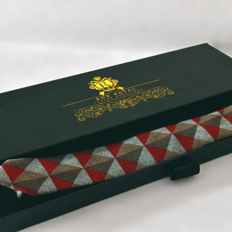 Losange zeleno červená prémiová bavlnená kravata RDB Royal