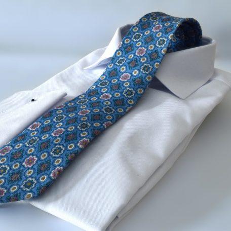Prémiová svetlo modrá foulard bavlnená slim kravata