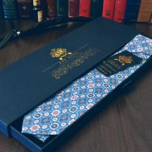 Bavlnená slim luxusná nebesky svetlo modrá foulard kravata z prémiovej bavlny RDB Royal
