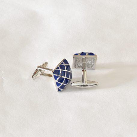 Luxusné modré manžetové gombíky diamantového vzoru