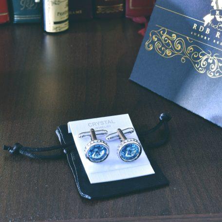 Luxusné kráľovské manžetové gombíky swarovski v modrom prevedení, strieborné