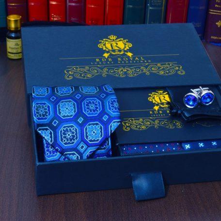 modrý pánsky hodvábny darčekový set s manžetovými gombíkmi swarovski